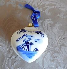 Hand Painted Heart Shaped Delft Trinket Box Ornament