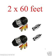 Black - 2 Pcs 18m/60ft length Plug-and-Play BNC Male to Video Power Cable