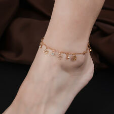 Rose Flowers Pendant Tassel 18K Gold Plated Crystal Foot Chain Anklet