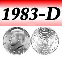 1983-D KENNEDY BRIGHT UN-CIRCULATED HALF DOLLAR===BU===C/N===