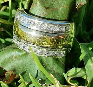 Ring Style 34  Sterling Silver & 9k Gold, CZ   Size O,U
