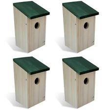 Patio Outdoor 4 pcs Garden Wooden Bird House Nesting Box Green Roof Feeder