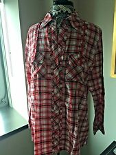 Sabby Anand Red and Purple Plaid Ruffled Shirt Size XL