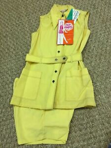 Vintage 1960s 70s Yellow Hot Pants Set Ladies Shorts and Jacket NOS