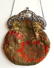 Antike Silber 800 Gobelin schöne Handtasche Theatertasche Abendtasche um 1900