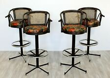 Mid Century Modern Set 4 Cane Rattan Swivel Bar Stools Umanoff Style 1960s