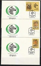 Soviet Russia 1988 set of 5 FDC covers Wild animals Zoo relief WWF Bear Wolf..