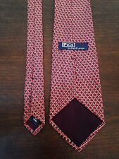 Polo Ralph Lauren Men's Tie Red/Blue Geometric Floral 100% Silk Handmade USA 58""