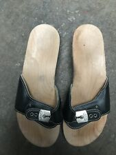 Scholl Damen Pantolette Schlupfschuhe Holz Schuhe