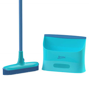 Spontex Catch and Clean Indoor Rubber Broom and Dustpan