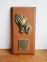 Vintage Serenity Prayer plaque wood with gold-tone metal small wooden sign