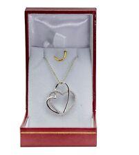 Cadena Y Colgante para Mujer Doble Corazón + Brillantes en Plata 925 Lujo Nuevo