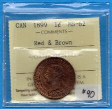Canada 1899 1 Cent One Large Cent Coin - ICCS MS-62 Red Brown