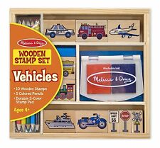 Melissa and Doug Wooden Vehicle Stamp Set - Traffic Signs Cars Trucks Craft