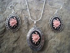 ROSE CAMEO LOCKET NECKLACE AND EARRINGS SET!!-.925 SILVER PLATED!!