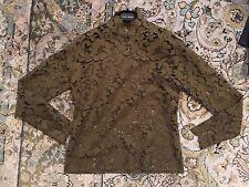 Vintage Handmade Sage Green chrochet Lace Blouse M Medium