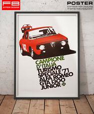 POSTER Tributo Alfa Romeo Gta 1300 Junior Campione D'Italia Turismo Speciale '71