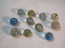 OLD SWIRL HAND MADE VINTAGE GLASS MARBLES LOT OF 11         T*