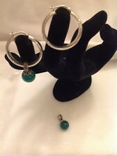 Vtg 925 sterling silver jade marcasite hoop earrings removable