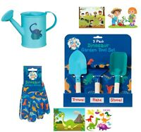 Childrens Kids Boys Gardening Tools Set Shovel Rake Trowel Gloves Watering Can