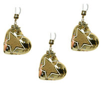 3 x Gold Glass Heart Shape Christmas Tree Baubles Hanging Decorations with Star
