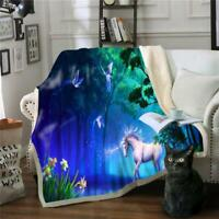Details about  /3D Blue Wolf ZHU012 Warm Plush Fleece Blanket Picnic Sofa Couch Quilt Bed Zoe