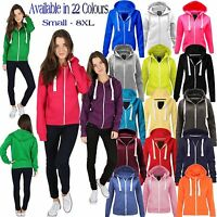 Womens Fleece PLAIN ZIP HOODIE Plus Size Zipper Sweatshirt Jacket Small-5XL 8-22