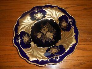 Vintage Echt Weimar Gold/Kobalt Blue Jutta 522 12 Inch Plate GORGEOUS!
