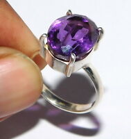5.10 Gm Natural AAA +Amethyst Ring 925 Solid Sterling Silver Ring Size 9 i-826