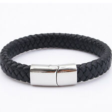 Mens Leather Bracelet Engraved Stainless Steel Clasp Personalised Christmas Gift