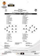 Teamsheet - Liverpool v BSC Young Boys 2012/13 UEFA Europa League
