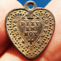 ANTIQUE SACRED HEART OF JESUS RELIGIOUS MEDAL OLD 19TH CENT FRENCH PENDANT FOUND