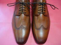 ALMOST NO WEAR! Men's Dress Shoes FLORSHEIM Wingtip Oxford SZ 9 D Brown Leather
