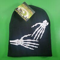 FUNNY BONES GLO-HAT: Halloween KIDS Knit Beanie Hat | Glow in the Dark Skeleton