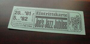 Vintage 1981 Unused Ticket Germany Concert Eintrittskarte Joe's Jazz Jubilee
