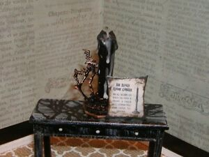 """Dollhouse Miniatures Halloween Spell, """"Black Flame Candle"""""""