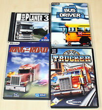 4 PC SPIELE SAMMLUNG TRUCKER KING OF THE ROAD BUS DRIVER PLANER TRUCK SIMULATOR
