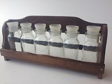 Set of 6 apothecary spice glass jars with 1 tier wall wood wooden shelf