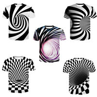 3D Optical illusion T-Shirt Hypnosis Swirl Men Women Funny Short Sleeve Tee Tops