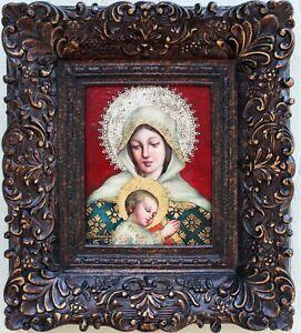 Virgin Mary & Sleeping Jesus-original painting-FRAMED-Diana Mendoza-with COA