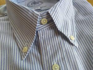 NWOT J. Press Blue University Stripe Oxford Button Down 16-33 USA   MSRP $125