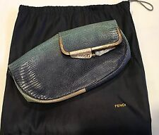 Authentic Fendi Borderline Fold over Lizard Ombré Blue