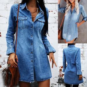 Damen Jeanskleid Denim Hemdkleid Longshirt Shirtkleid Longtop Freizeit Minikleid