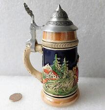 Vintage German stein beer mug Lustre ware SMALL tankard with lid