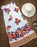 k&d London Dress Size 12 Summer Floral White Sleeveless (hat not included)