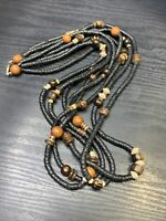 "Vintage Bohemian Exotic LongWood Beaded Multi Strand Necklace  26"" Black Brown"