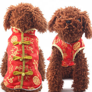 New Dog Coat Pet Clothes Chinese Tang Suit Winter Jacket Pyppy Fleece Vest