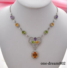 Real natural 15x11mm.TOP nice Citrine amethyst peridot silver flower necklace