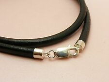 ~Custom Made ~925 STERLING SILVER Genuine 4mm LEATHER Choker NECKLACE +++THICK