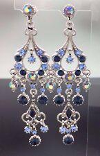 Chandelier Blue Crystal Long Swarovski Earring Silver 8cm Formal Wedding